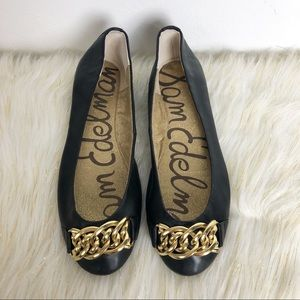 Sam Edelman Shoes Flats Slip on Gold Chain Black